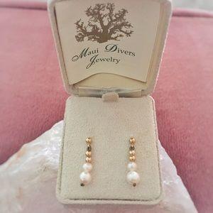 Maui Divers Pearl & Gold Dangling Earrings